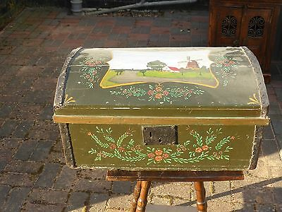 Antique wooden painted storage chest with pictures