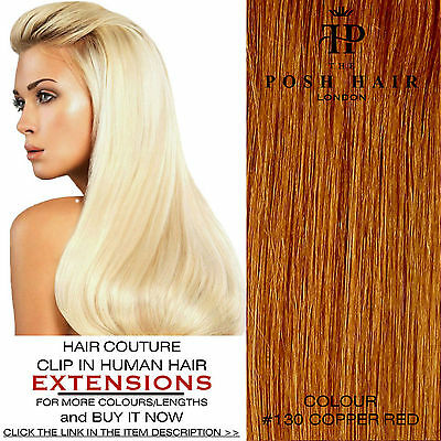 "Clip In Human Hair Extensions Full Head 20"", Colour #130 More Colours Lengths"