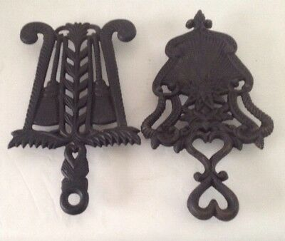Two Black Vintage Iron Cooking Trivets By Wilton