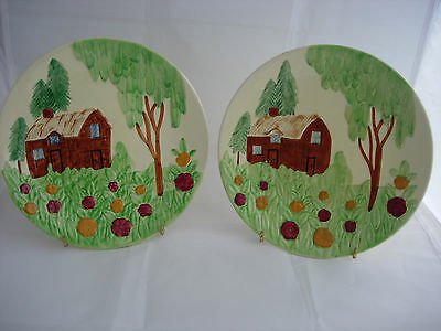 Shorter and Son Embossed cottage ware hand painted plates plaques 1950s