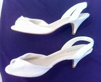Predictions Womens White Shoes Slingback Open Toe Size 9 1/2 Wide