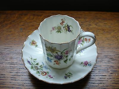 """Royal Worcester """"roanoke"""" Pattern Demitasse Coffee Cup And Saucer"""