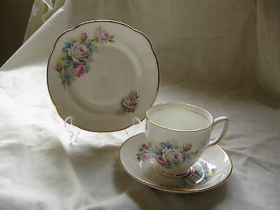 Duchess Bone China  Trio  With  Attractive White Pink And Blue Rose Pattern