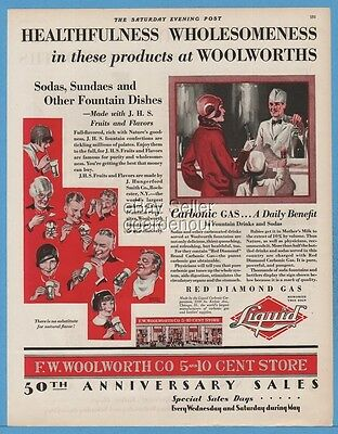 1929 F. W. Woolworth Co 5 10 Cent Store Soda Fountain Sundaes Red Diamond Gas Ad