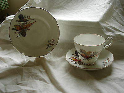 Vintage  Attractive Bone China Trio Decorated With Pheasants