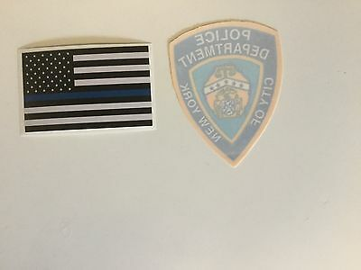NY-NYC,  NYPD Police InWindshield Decal & Flag Thin Blue Line Police Sticker