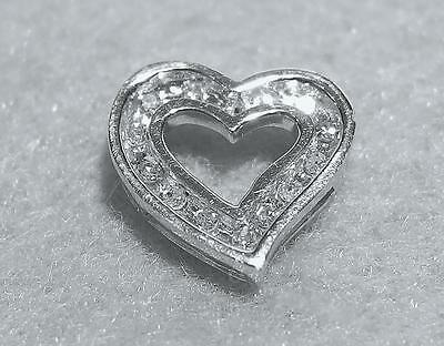 Vintage 14k White Gold Diamond Heart Slide Charm