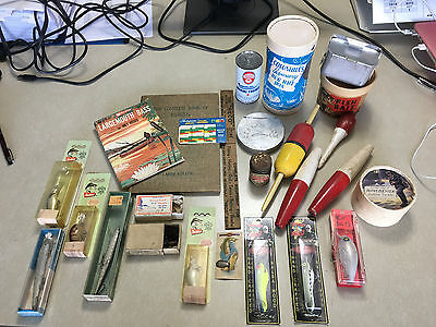 Nice Vintage Lot of Fishing Items - Winchester Bait Box!