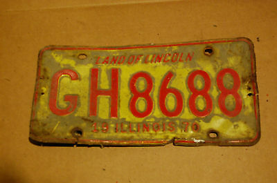 Illinois 1970 License Plate GH8688 Yellow and Red