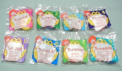 McDONALD'S TOYS - 1998 - TAMAGOTCHI KEY RINGS - FULL SET OF 8 - NEW IN PKG.