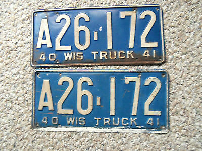 1940  Wisconsin License plates PR.  Truck Original Plate 1940  Ford 1940 Chev