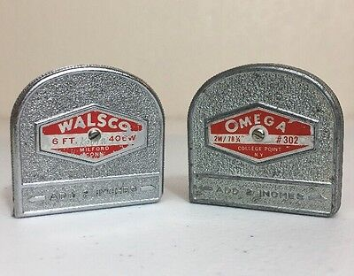 Lot of 2 VINTAGE Metal Tape Measures OMEGA (Metric) & WALSCO (Imperial) USA