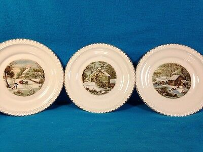 """Harkerware Three 6"""" Plates w/Currier & Ives Scenes Gold Trim Made in USA"""