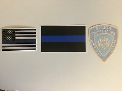 NY-NYC,  NYPD Police InWindshield Decal  & 2 Blue Thin Line Police Stick