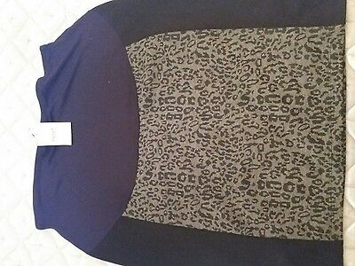 bmwt next maternity black skirt leopard print sz 14