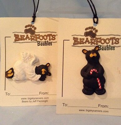 Big Sky Carver Bearfoot Baubles Angel Bear Pin and Bear Candy Cane Pin Resin $9