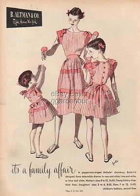1946 Altman peppermint striped young girls dress 40s Ad MMXV