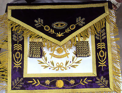 Hand Embroider Masonic Grand Lodge Past Master Apron Purple
