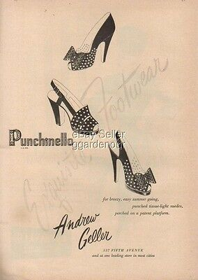 1946 Andrew Geller Punchinello Vintage Shoes 1940's Ad