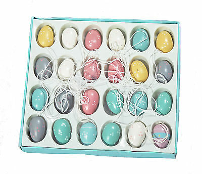 NEW Vintage Easter Egg Ornaments - Pastel Mini Wooden Eggs - Set of 24