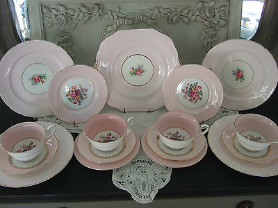 Chic Pink Floral Bone China Mixed Tea Set with Extra Cake Plates.Stunning!