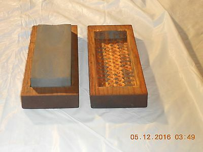 Old Tool. Old Oil Stone In Wood Box With Cover. Has Two Grain Sizes