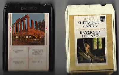 Lot Of - (2) - Classical - 8 Track Tapes - Beethoven / Bach - Tested