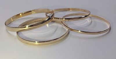 375 9ct Solid Yellow Gold Bangles - Ladies Fully Hallmarked - Stack-able