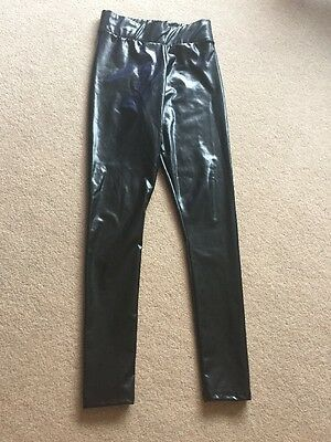 Ladies / Girls Black Shiny Polyester Trousers, Size 10