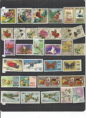 Bhutan 32 Mint & CTO Stamps.  See Scan