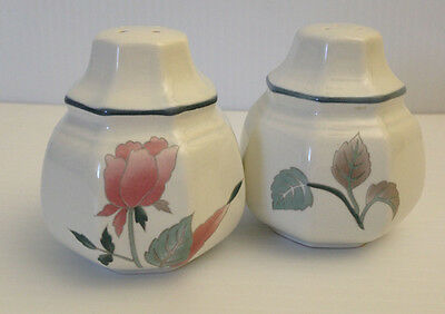 White Salt and Pepper Shakers with Rose Flower Japan-E