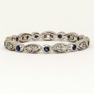 Royal Blue Sapphire Diamond Band Vintage Style Eternity Dainty Cocktail Ring 14K