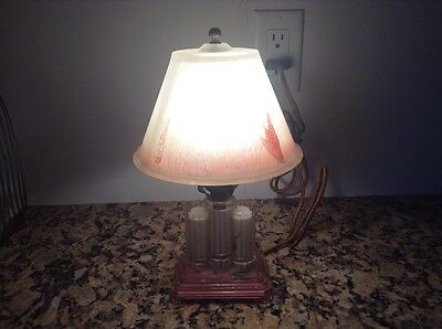 Antique Art Deco Reverse Painted Glass Shade & Skyscraper Style Glass Base Lamp
