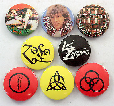 LED ZEPPELIN Button Badges 8 x Vintage Pin Badges * Robert Plant * Symbols *