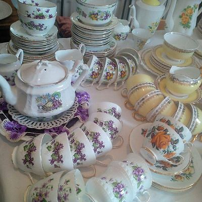 Mixed Vintage Crockery/China 50 X Trios &  5 Cake Stands HIRE BeauTea4All London