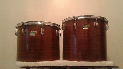"VINTAGE  70s LUDWIG 16""x14"" & 15""x12""  CONCERT TOM DRUMS  MAHOGANY"