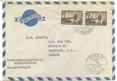 Finland First Day Cover to Canada 1955