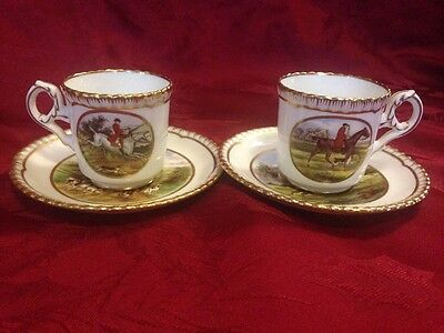 Spode Hunt Demitasse Cups And Saucers Set Of 2