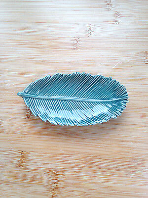 Ceramic feather, blue teal, dish plate.