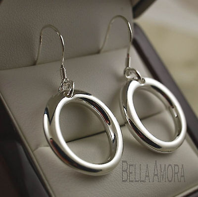 925 Stamped Silver Plated Round Oval Circle Hoop Dangle Drop Earrings -UK -109