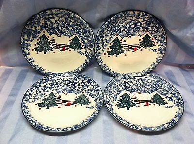 "Set of 4 Tienshan Folkcraft Cabin in the Snow 7 3/4"" Plates PERFECT!"