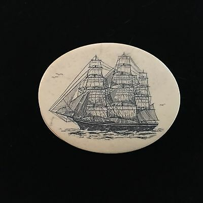 Vintage Faux Scrimshaw Trinket Box Clipper Ship
