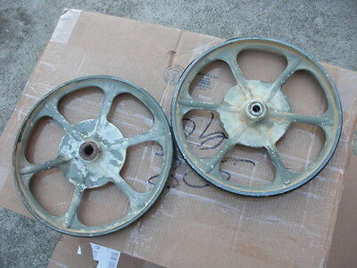 "Vintage Set of Delta Rockwell Milwaukee 14"" Band Saw Upper & Lower Wheels"