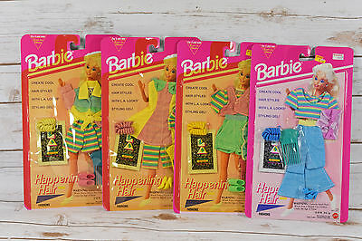 Lot of 4 1993 Mattel Barbie Happening Hair Fashions NIP