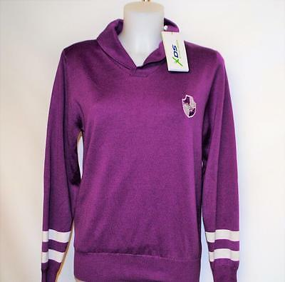 New Ladies MEDIUM Daily Sports long sleeve cotton acrylic golf sweater Purple