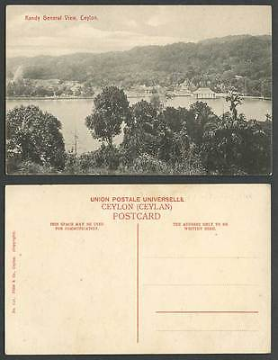 Ceylon Old Postcard Kandy General View Panorama, Lake, Sri Lanka Plate & Co. 121