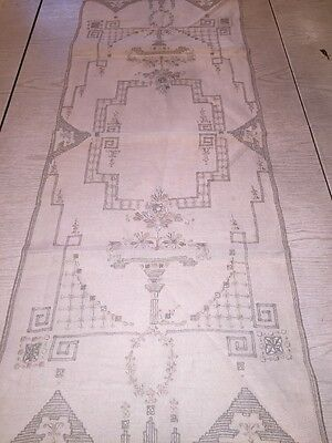 ANTIQUE Furniture TABLE RUNNER Open net Embroidered Netted edge