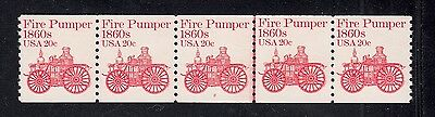 "US #1908 PL #2 20¢ ""Fire Pumper"" Stamp PNC5 Plate Number Coil Strip ***Type I***"
