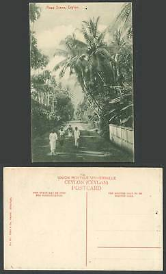Ceylon Old Postcard Road Scene, Native Street Scene, Palm Trees Group of Natives