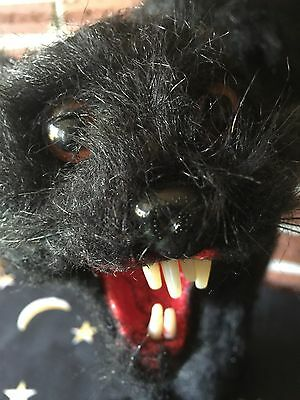 Vintage Halloween Scary Witch's Black Cat Orange Eyes 1960's Paper Mache'